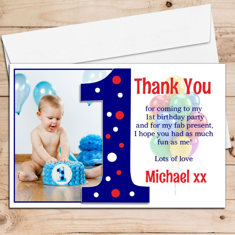 10 Personalised Boys First 1st Birthday Thank you PHOTO Cards N191 – First Birthday Thank You Cards